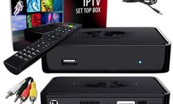 inlcudes MAG254 Set-Top Box, user manual, Mini jack cable to RCA (A/V), Power adapter 12V 1A, and remote control We will set it up for you and all you have to do is plug and play...We also have wireless dongle - if you prefer to connect the box
