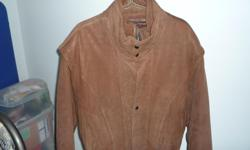Jacket - brown, large, clean, warm Brown jacket, excellent condition, professionally cleaned, like new, large, leather-suede texture (not real leather), thinsulate interior. Removable vest, multiple pockets, one replacement button included. Snug elastic
