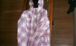 pink plaid small- Great shape, hardly worn. Has inside elastic to keep out snow  when skiing. $20.00 Very warm, fuzzy lined hoodie, medium, Great shape. $20.00 Black jacket with fake fur, medium, $15.00 Grey jacket with black hood, medium, great shape.