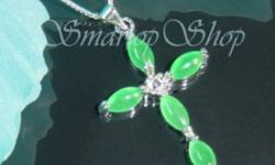 Jade G/P Cross Pendant and Chain. 18 KGP markings. New. Email or call 519 438 8887
