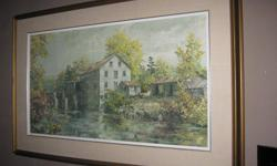 """Textured print of Simmons Mill by James Lorimer Keirstead, renowned Canadian artist, born December 18, 1932.  """"Depicted in the spectacular colours of a Canadian autumn, this mill is similar to many that were converted from grist to sawmill although"""