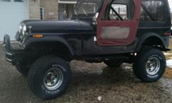 Make Jeep Year 1980 Colour black Trans Automatic kms 101000 i have a 1980 jeep cj7 laredo with a 8 inch lift on 33`s.i am selling becuase im going away for school soon needs to be finished but wont be a big job. i have most parts needs rear break light