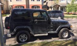Make Jeep Model TJ Year 2002 Colour Black kms 92000 Trans Manual excellent condition, 4.0 liter, 6 cylinder, 5 speed, hard top, soft top, fog lamps, tow bars, dana rear axle, tint glass, A/C, 7 speaker sound system, a great, fun vehicle! $8000 obo