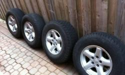 Jeep Cherokee sport wheels! Rims are in pretty good shape! With fit many different jeeps xj,tj,zj,wj! One tire is basically new the other three need replacing! Best offer takes them! call 416-704-9560 or reply to the ad This ad was posted with the Kijiji