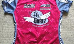 For Sale: `Fly Gurlz` cycle jersey by Louis Garneau. 3/4 Front zipper and 3 pockets at back. Sized :Youth Girls XL- or womans Small Made in Canada- silky smooth. Mint condition.- $15.
