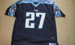 For Sale; NFL Jersey - Titans `George #27' by Reebok. Silky smooth and air vented. Logos / crests on front,back and shoulders. Size XL - Mint condition. $25.