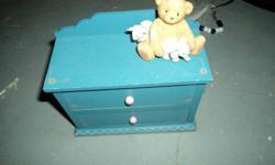 Great for a little girl, lots of children jewellery and jewellery box ....the bear has come off the box but can be glued back on easy. Asking 10 or best offer.