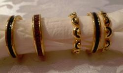 JOAN RIVERS Rings Signed. Quality. Fits about a size 7. FIVE rings for sale as a group. Enamel. Electroplated.
