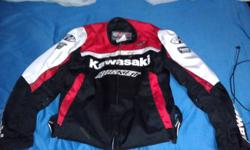 Bought last year for 280, size XL, in great shape. Ballistic textile fabric, many zippered air vents, armor in the shoulders elbows and back. Armor is removable. Kawasaki registered, the real deal. Hardly used, bike bit the dust a few months after buying