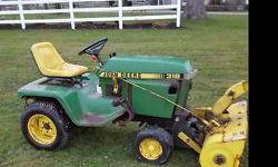 """Have a 20 yr old JD 316 Single Tractor (16 HP) that is not currently running with 40"""" cut hydraulic PTO snowblower (single stage) Snowblower and attachments all work fine. Tractor needs a rebuild. Includes chains. May consider separating or trade for"""
