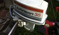 for sale one 35 horse johnson outboard motor miss bottom section of shaft someone stoled it this summer motor is a good runner excellent for parts parts are interchangable with 20 to 35 horse johnson motors 250.00 o.b.o call 621-9172 leave message if no