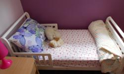 Junior bed including mattress, perfect for a child ready to move on to a bed. Dimensions are 29 inches wide X55 inches long.
