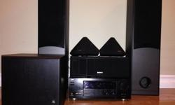 "JVC 5.1 Audio/Video Receiver - RX-778VBK Sony Front(SS-MF315), Rear(SS-SR30), Centre(SS-CN30) and 12"" sub-woofer(Acoustic Research-S10APS)."