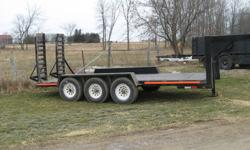 JVC Float Trailer for sale - $6500. 16 foot float, triaxel gooseneck. Black, electric brakes, freshly painted and new boards in floor. Safetied December 2011. Good fold up ramps and fenders; tie down rails.