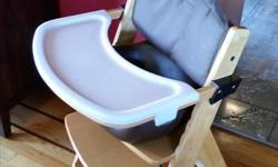 Keekaroo wooden high chair with Infant Insert, Tray and tray cover. In great condition with only minor scratches. Bought new 5 years ago and used for 2 girls. Comes with 2nd wooden tray that has never been used. Chocolate colour infant seat. See website