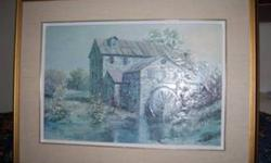 """Beautiful textured print """"Brenda's Mill"""" by James Lorimer Keirstead, famous Canadian artist. Matted & framed....print measures 16"""" x 24"""", 24"""" x 32"""" with frame. . When I inquired about the painting from the Keirstead studio....this is what the artist?s"""