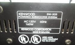 "Kenwood Self Powered Sub Woofer 160 watts 18""long x 13"" tall x 12"" wide $50."