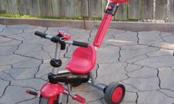 kid's tricycle bike ladybug smartike $34.00 no offers spirit touch steering , , used bike , but in good condition the picture show you what come with the bike , a toy cell phone , and the long handle come off