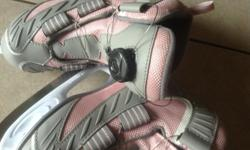 Good condition, reebok, easy to operate( just rotate the button and the shoes can be tight, kids can do it themselves).