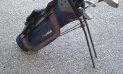 Great start kit for young golfers. Includes backpack strap style golf bag. The clubs have been worn and are not in perfect condition but more then capable of being used for many more seasons. Clubs: Driver,5 iron, 7 iron, 9 iron, and putter comes with a