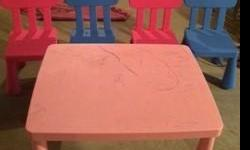 Plastic table and 4 chairs. Used. As is.