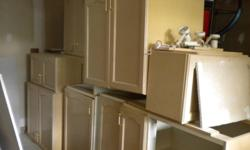 full set of bleached oak kitchen cabinets (upper and lowers) and set of drawers In great condition