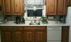 Oak cabinets, laminate counter top, needs some tlc. Would be perfect for your cottage. Appliances not included at this time. Please e-mail. Serious inquiries only.