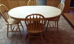 "Solid Wood Table 60"" x 42"" and 4 matching chairs"