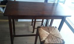 Perfect condo size dining table!!! 3 pc - table with 2 stools, made to save space, with 2 drawers with metal handle on two ends of the table. Dimensions are 39.37W, 19.67H and 33.27 L Pickup only