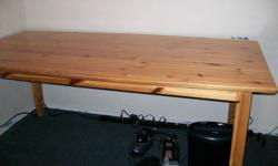 """Nice old pine table, measures 71"""" by 37"""". Has pullout on each end to hold platters or extensions. $110.00 or best offer. Delivery available for extra charge."""