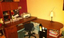 L shaped desk for sale with hitch. Has a swivel shelf attachment for a screen. Has three drawers. I have a large cabinet that can go with it as well for an extra 50.00. It has two large filing drawers with two shelves behind doors. This ad was posted with