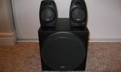 Labtec Pulse-424 3 piece speaker system with advanced subwoofer. Complete with booklet. In perfect condition.  $25.00 Or best reasonable offer.