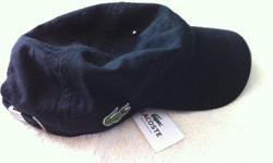 Lacoste Ball Cap - Brand new! This totally cool black baseball cap has never been worn, still has original store tag - purchased for $40+tax - asking $30. Adjustable and extremely durable!