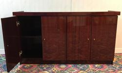Lacquered wood cabinet (50.5 inches x 14.5 inches x 27.5 inches) Strong enough to hold a fish tank