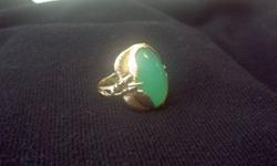 10kt yellow gold fancy styled jade ring with high polish shank. A 2.21mm X 16.5mm (8.93mm thick) cabochon cut, light green coloured jade (Chinese). Size: 8 1/2 Weight: 11.2g Appraised at $1250.00 An amazing antique piece, serious inquires only. Call Jen