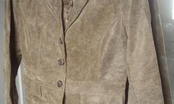 clean, leather suede jacket with buttons Alfani size M excellent condition worn twice