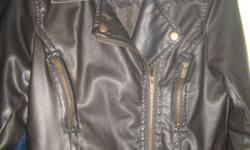 Hello, I am selling my ladies bomber jacket. Size Medium. Pleather material. Dark brown colour. In mint condition, I only wore it once. It was purchased at Winners for $80.  It no longer fits me that is why I am selling it. I am asking $30 or best offer.