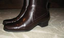 """SHARP LOOKING COMFY DRESS BOOTS DARK BROWN MADE BY 'PREDICITIONS'. HARDLY WORN. SIDE ZIPPER. SIZE 7W. HEEL 1.5"""", BOOT IS 6.5"""" HIGH FROM FLOOR TO TOP. GOOD RUBBER SOLE, NOT SLIPPERY. $7.00. CALL 519-587-2680. see other ads"""