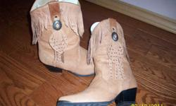 Just in time for Christmas, I have a pair of ladies size 7 cowboy boots used only a couple of times as I have developed arthritis in my foot and the boots are no longer a comfortable fit for me. (made by: American West Trading Co.) just like new.