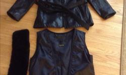 Black leather three season jacket with removable inside liner and faux fur collar. Size ladies small but could fit a size medium. asking $15.