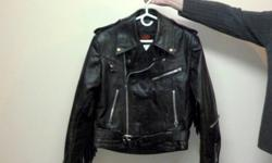 Black leather jacket - Golden Crown by Bristol, size 40 Quilted inside Black leather chaps ? size small Like new ? barely used   Asking $350.00 for both