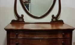 Refinished, Smoke free home, Original Mirror has some blemishes. Dimensions: Width 42 inches Depth 22 inches Height of dresser 27 3/4 inches Height of dresser with mirror 74 inches