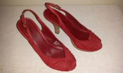 Red Suede sling back sandals Brand: Request Size: 6