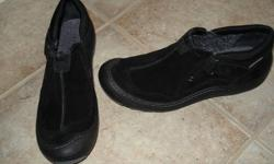 I have a pair of Clarks (Privo) black suede (waterproof) shoes for sale.  I purchased them online, wore them out once and realized they were a little too big for me.  I am an 8.5 shoes size, and these are a size 9.  These retail for $90 plus tax!   If you