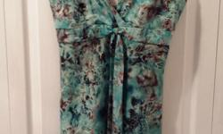 Ladies Turquoise/Brown Summer Dress Brand: Jane Alexander Size: 8
