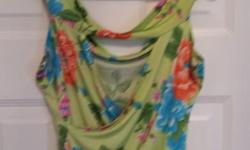 Lime Green Flowered print, with open back Brand: Subway Size: Large