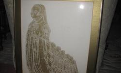 """Framed (15'x18"""") Brass Rubbing of the Lady of Willesden - Middlesex England"""