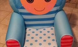 """Large toddler lounge chair (22.25""""L x 19.50""""W x 28.50""""H) Perfect size for 2 to 7 year-old Small tear on upper right side (see picture) Slight sun discoloration on the back"""