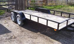 Landscape Trailer 16 foot, Tandem axle 3500# axles, electric breaks on one axle. tailgate modified slightly...split into two halves and beefed up some. Rubber is very good too.