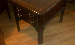 Coffee table and end table set Manufactured by Lane Solid mahogany Coffee table 47 inches long, 22 inches wide, 16 inches tall End table 20 inches wide, 27 inches deep, 23 inches tall $225 set Could deliver Just email me, if you need more info or would